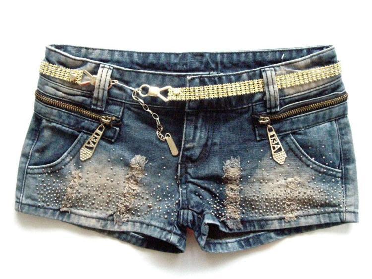 2012 Free shipping zipper paillette ornament pockets shorts for summer free size denim shorts women