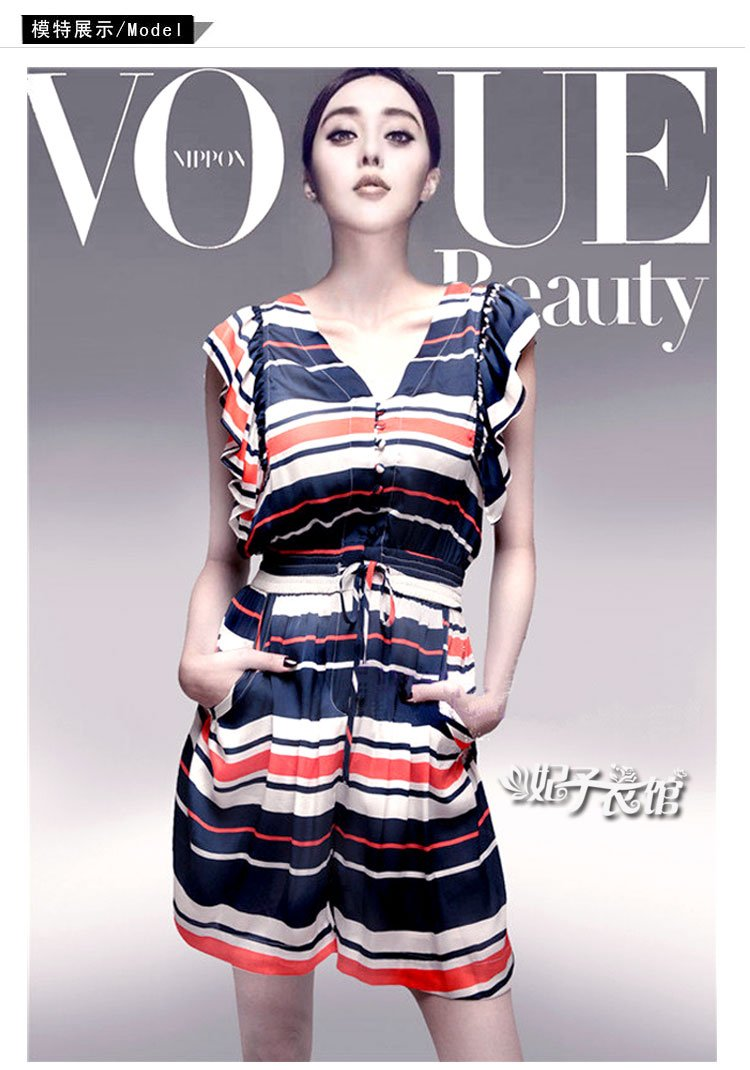 2012 High quality summer navy striped style high waist romper women Free shipping