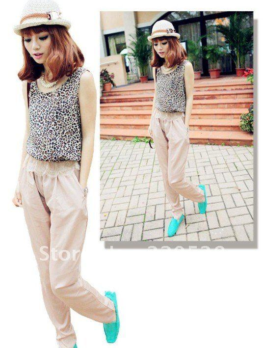 2012 Hot Sale!Womens Fashion Leopard Vest Chiffon Jumpsuits Romper Pants Dress Z5631