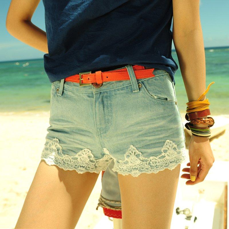 2012 hot selling 2pcs/lot 100% cotton women summer sexy lace blue jeans shorts d1896
