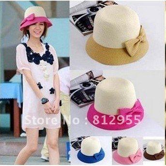 2012 Hot Women's Flower Cute Summer Beach Sun Straw Hat With Lacework Free Shipping