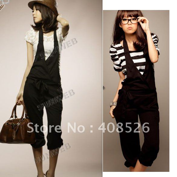 2012 Korean Fashion Women's Halter Cotton Short Summer Jumpsuits Trousers Rompers free shipping 4043
