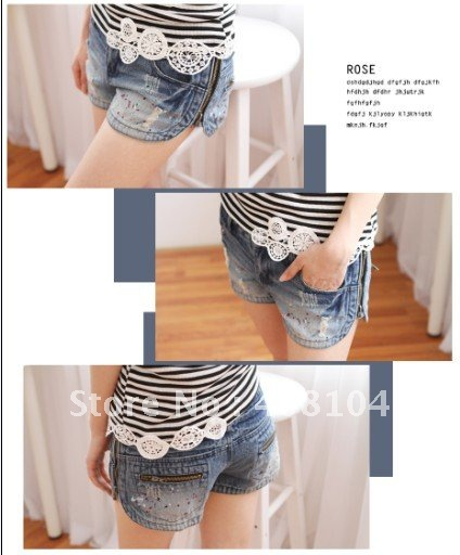 2012 korean style women's side zipper denim shorts low-waist light color straight jeans