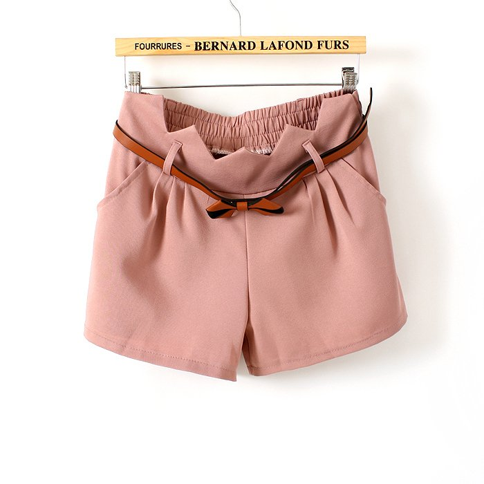 2012 lacing belt elastic waist shorts female all-match solid color shorts with belt