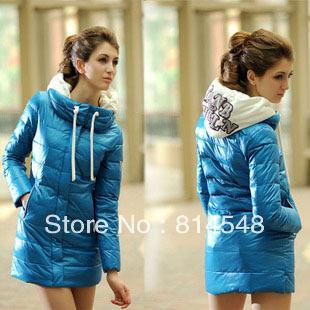 2012 Long Design Hoodies  Womens Fashion Cotton Down Long Jacket Coat Winter Warm Padded Puffer NWT