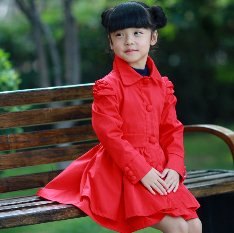 2012 medium-large girls clothing sweet puff sleeve trench long design outerwear princess canopy skirt