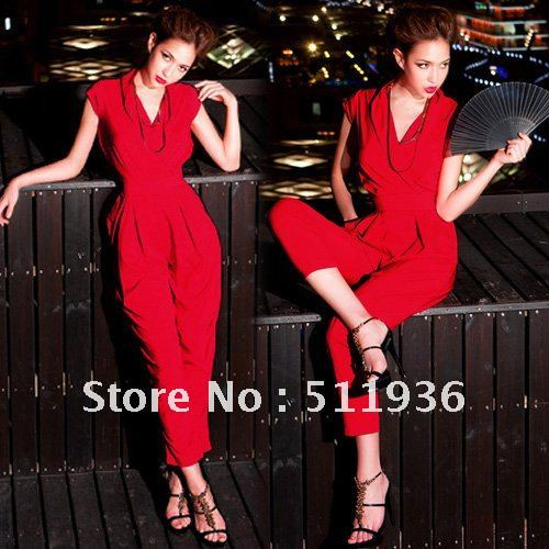 2012 Most Fashion Womens Cap Sleeve Stylish Jumpsuits Romper Overall Long Pants Trousers Red Black #C51801