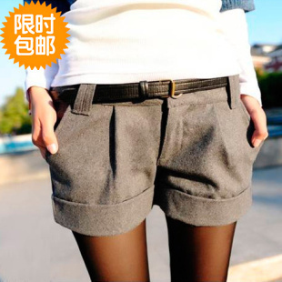 2012 new arrival Autumn winter women plus size slim high waist casual wool shorts hotsell popular female pants free shipping