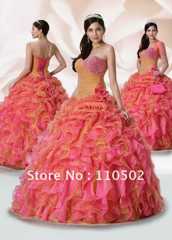 2012 new arrival beaded sweetheart orange and pink quinceanera dresses