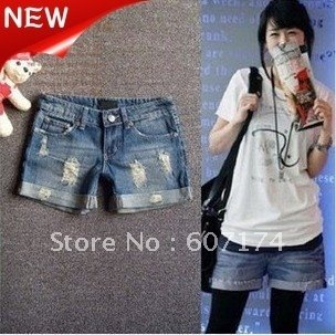 2012 New Arrival Elegant ladies distrressed Denim shorts,Boots pants,casual jeans,S:S-XXL,#1276,PROMOTION&RETAIL