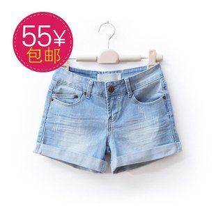 2012,new arrival,free shipping,European,fashion,jean shorts, Flanging shorts,wholesale and retail