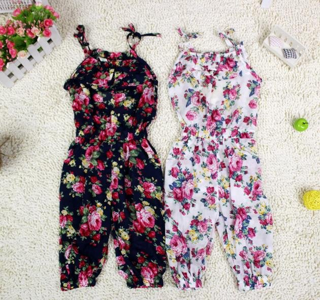 2012 New arrival girl flower overalls,girl's summer suspender pant ,girl cotton pants,kids summer clothes,5pcs/lot Free shipping