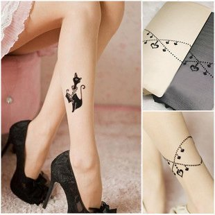 2012 New arrival! Japan and Korea Fashion cat Tattoo Retro Stocking  tights Old Black Fishnet Hose Pantyhose Tights