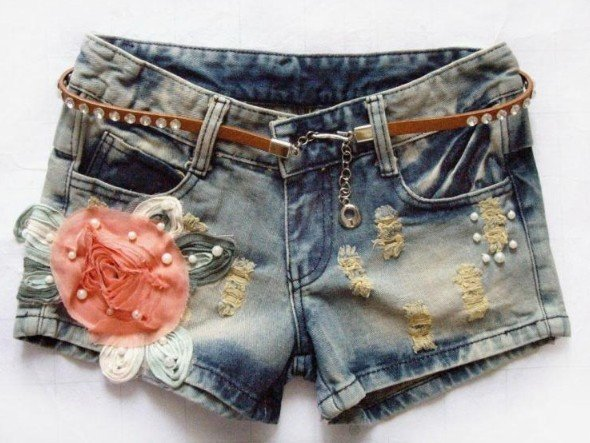 2012 new arrival Korean style summer floral ornament shorts denim slim ladies short pant free shipping
