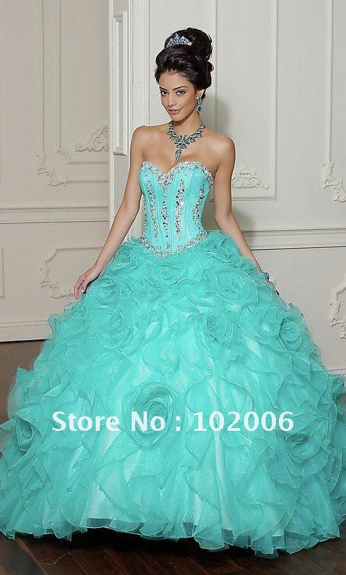 2012 New Arrival Royal Style Sweetheart Crystal Beaded Corset Ball Gown Light Blue Quinceanera Dresses QD1176A