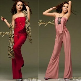 2012 new arrival Summer fashion pleated solid color jumpsuit bohemia trousers skirt 1pc shipping free