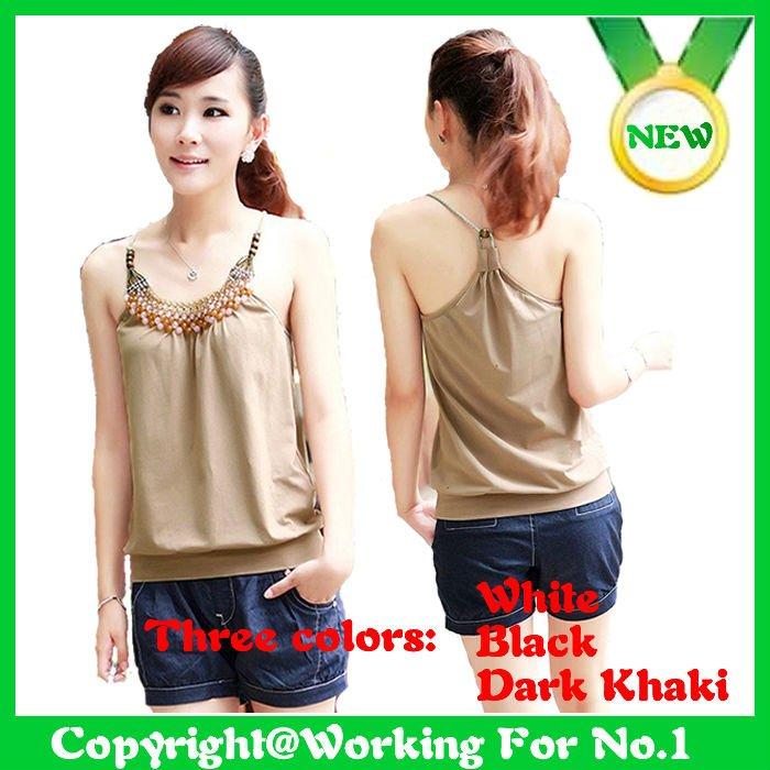 2012 new arrival woman fashion 3 color optional cotton solid color rendering Halter vest beading halter/brand  top  wholesale