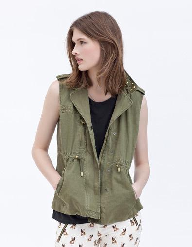 2012 new arrival Women fashion casual turn-down collar sleeveless zipper rivets drawstring military vest