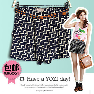 2012 new arrival women's fashion high waist stripe all-match chiffon shorts female y-132
