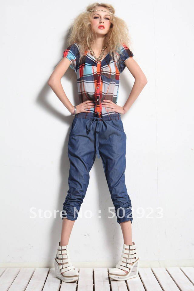 2012 new arrivals hot selling women Fashion plaid jump suit ,fashion shirt casual Seven pants free shipping