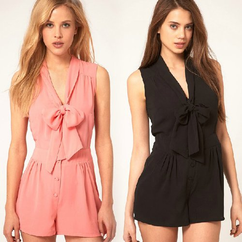 2012 new arrive hot sale free shipping 3 color 6 size XS-XXL women sleeveless bowknot button romper jumpsuit playsuit HY59