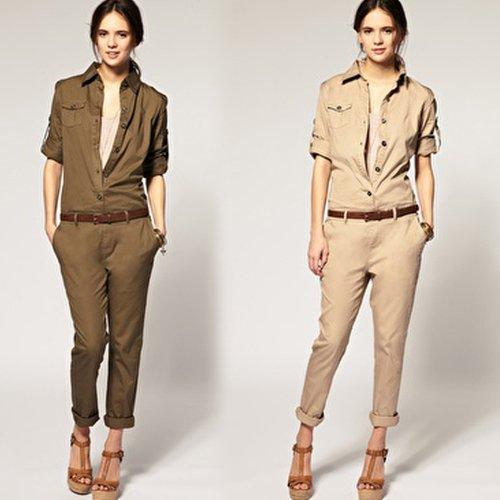 2012 new arrive hot sale free shipping 6 size XS-XXL Worker style cotton button long jumpsuit playsuit uniform HY56