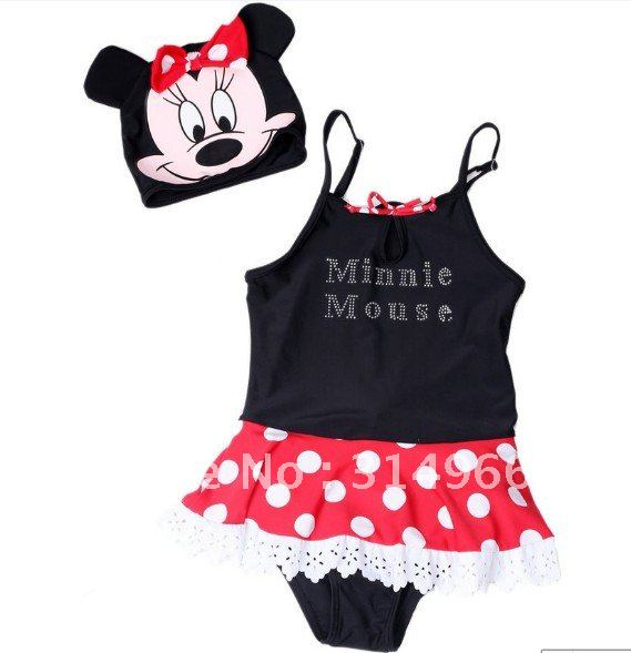 2012 new arrive lovely baby bikini girl`s Swimming suit onepiece swimming suit hot selling beach baby minnie mouse swimmingwear
