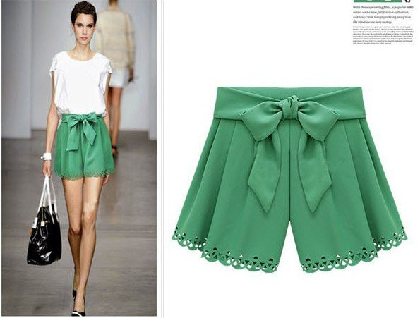 2012 new arrval fashion casual empire hollow out  shorts pant with Bow belt high quality brand design free shipping