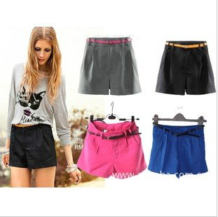2012 new arrval fashion casual shorts pant with belt hot item high quality brand design whole sale XS S M L free shipping