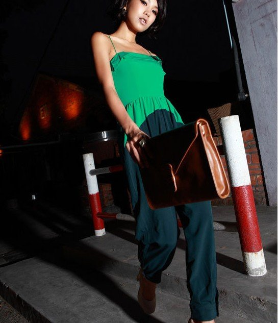 2012 new arrval fashion green patchwork tank top jumpsuit sexy cozy slim sleeveless overall casual Brand design