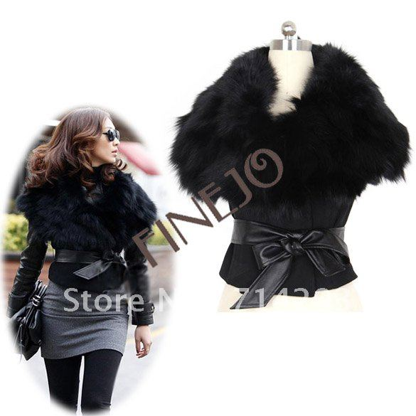 2012 New Autumn and Winter Women's Basic style Faux Fur Vest Sunday Angora Yarns Hooded Vest  free shipping 6740#
