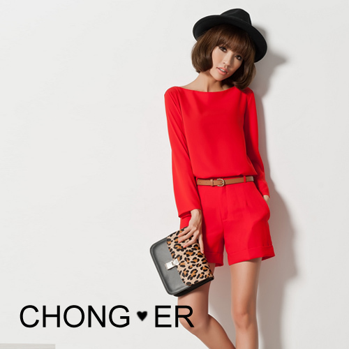 2012 NEW brand women designer long-sleeve separated  tees with shorts set