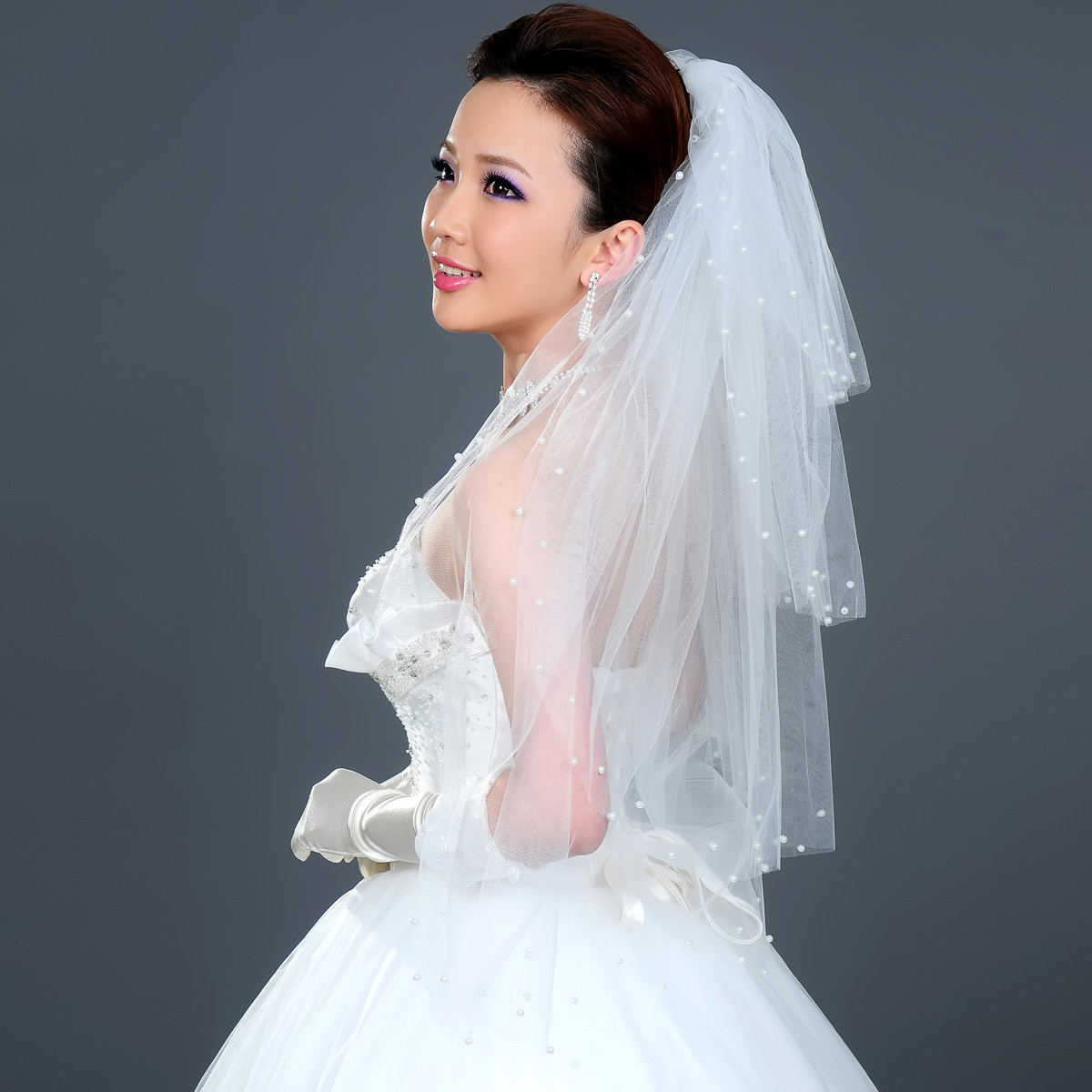 2012 New bride wedding long veil pearl multi-layer puffy veil 4 layers-Free Shipping
