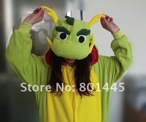2012 New China Dragon design adult long romper nonopnd one piece stretchy sleepers polar fleece for 145~185cm free shipping