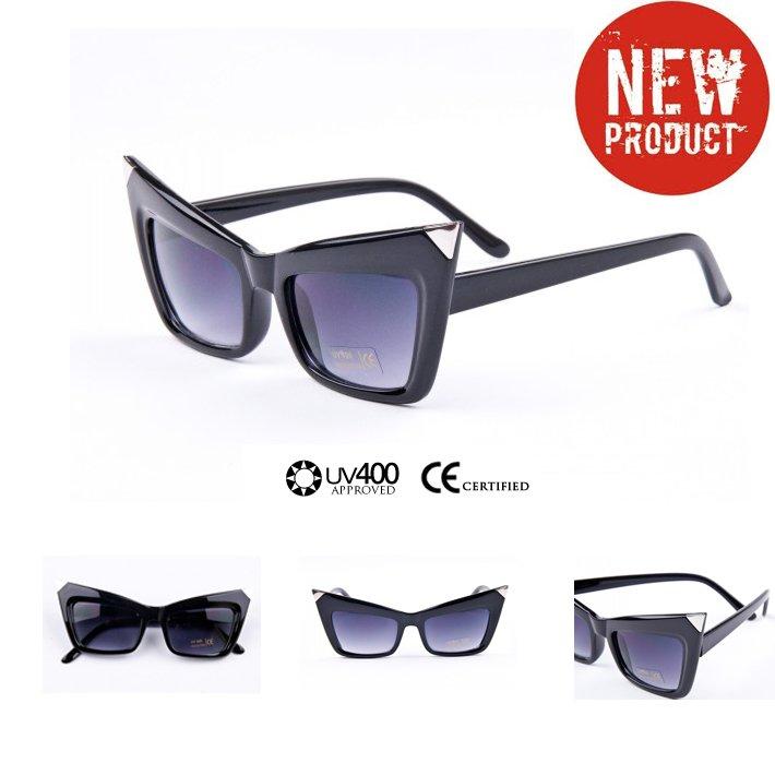 2012 New Designer Retail Women Sunglasses Lady Gaga Cat Eye  Dark Lens Womens  Glasses Brand New Retro Vintage Ladies  Glasses