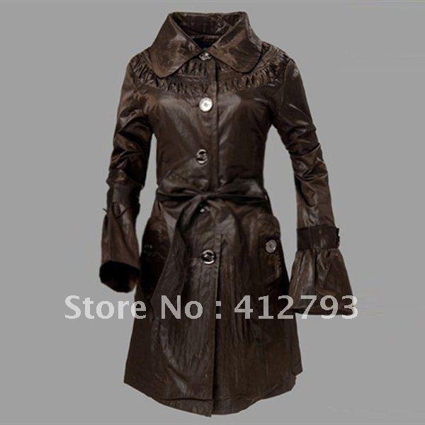 2012 New Elegant Winter  Womens Long Sleeve Slim-fit Windbreaker Jacket Coat SIZE M/L/XL/XXL Free Shipping  902058-FZ-2003