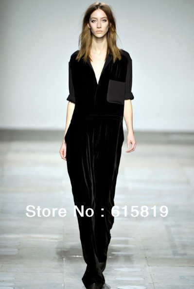2012 New Europe and America popular fashion women clothes,ladies's romper long velour Jumpsuit,freeshipping