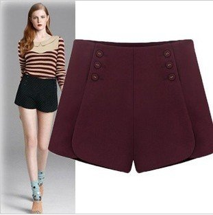 2012 new fashion casual corset woolen hot shorts pant double breasted pants sexy slim high quality brand design