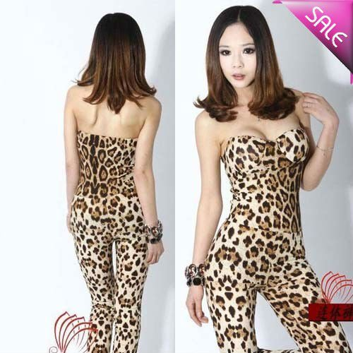 2012 new fashion European Style Sexy Strapless Leopard Print  Jumpsuit women / romper Wholesale  ,Free Shipping hst10