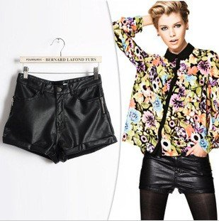 2012 new fashion Sexy PU Leather Shorts pant Classic black vintage high quality brand design zipper pockets elegant casual Hot