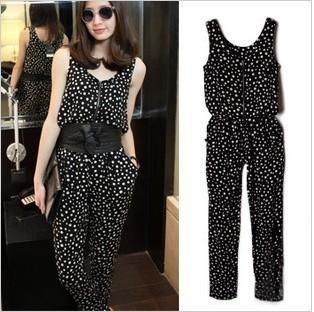 2012 new  fashion vest design polka dot jumpsuits for women