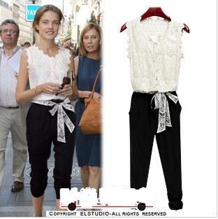 2012 new fashion women clothing Suits, lace stitching piece pants women Vest to send belt jumpsuit