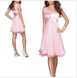 2012 new fashion Women Dress ,Short paragraph solid color the flouncing shoulder oblique dress