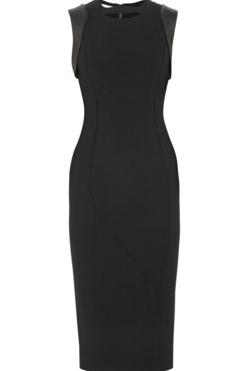 2012 New Fashion Women Vintage  Leather Patchwork Slim Arc Sleeveless Tank  Elegant Knee-Length OL Formal Dress Free Shipping