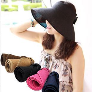 2012 New Fashion Women Wide Large Brim Floppy Fold Summer Beach Sun Straw Hat Cap Free Shipping