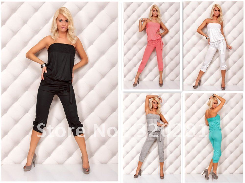 2012 New Hot Export  5 Colors Fashion Sexy Womens Black Strapless Jumpsuit 1 Pcs Elastic Casual Romper wholesale Free Shipping