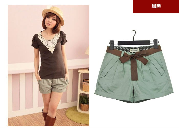2012 New Hot Free Shipping Wholesale Fahion Korea Shorts For Women with Belt Ladies' Trousers Casual Short Pants Fashion Shorts