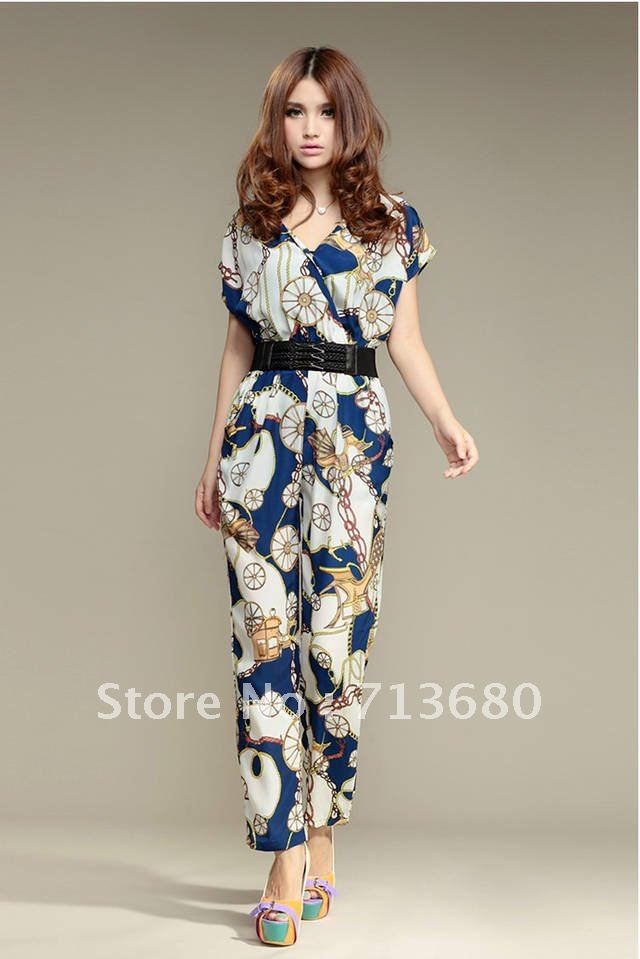 2012 new hot large code  knicker printing pants floral Jumpsuit thin trousers leisure pants