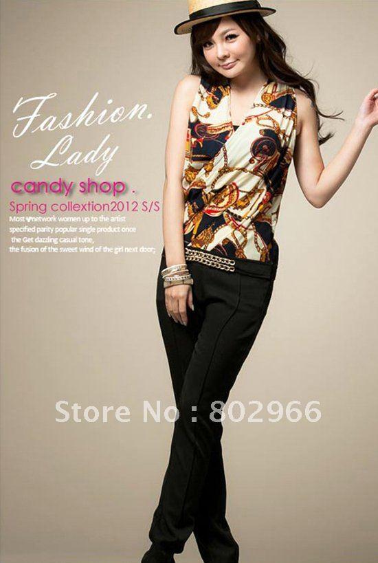 2012 new hot sale free shipping sweet women summer print chiffon long jumpsuit ST137 yellow/red