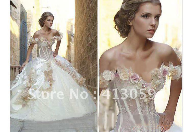 2012 New luxury Off Shoulder BallGown Wedding dress Prom Pageant Ball Quinceanera dresses A252